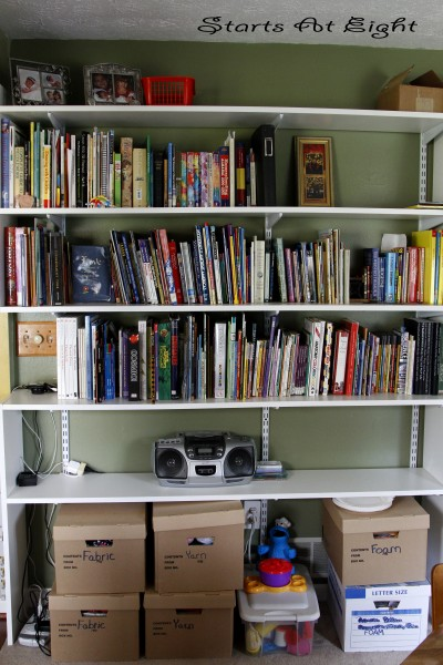 Homeschool Room Bookshelves and Craft Storage from Starts At Eight