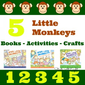 5 Little Monkeys - Books - Activities -Crafts - & More! from Starts At Eight