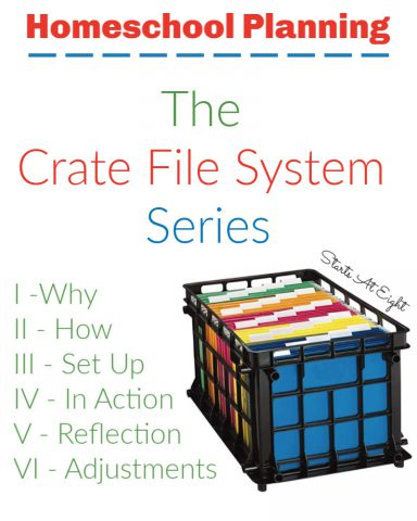 Homeschool Planning Crate File System Series is a series all about our journey with using file folders and a crate for homeschool planning. Learn why, how, see it in action, and even hear my reflections after using it for a bit.Includes tons of tips and resources, as well as curriculum ideas.