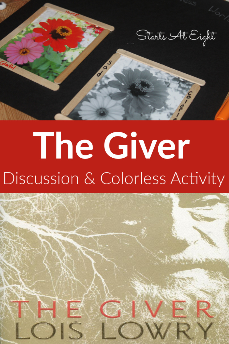 The Giver Book Discussion & Colorless Activity from Starts At Eight
