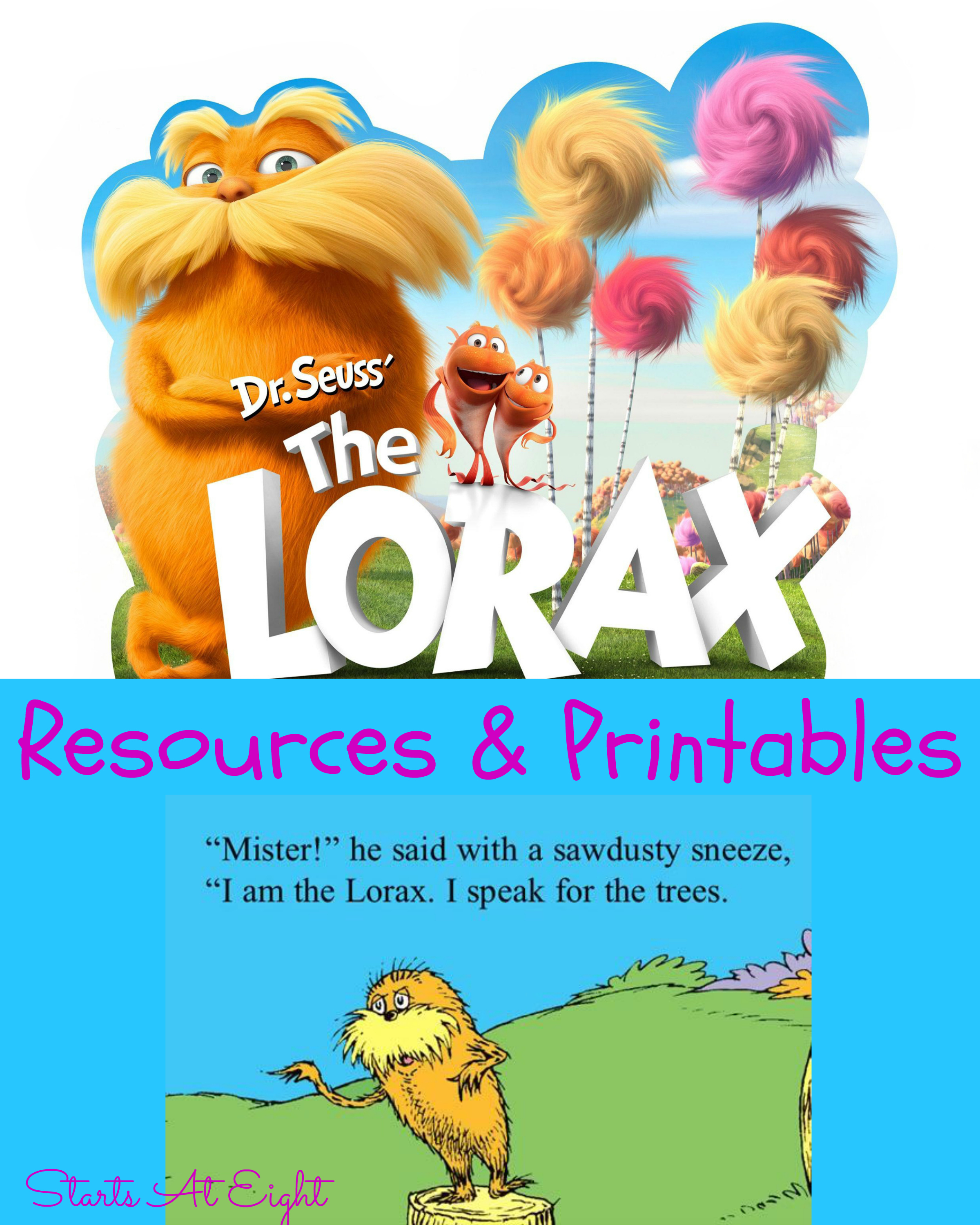 Printables Lorax Worksheets dr seusss the lorax resources printables startsateight from starts at eight