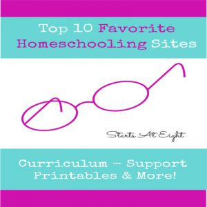 Top 10 Favorite Homeschooling Sites from Starts At Eight is a list of homeschooling sites you will frequent time and time again for homeschool curriculum, printables, knowledge, and support.