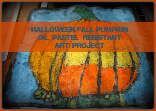 Halloween Fall Pumpkin Oil Pastel Resistant Art Project from StartsAtEight