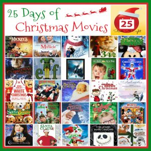 25 Days of Christmas Movies from Starts At Eight. This is a great list of 25 Christmas movies to enjoy with your family. Plus a FREE Printable List!
