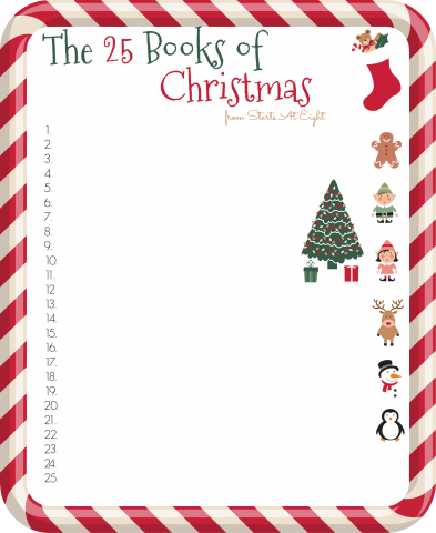 The 25 Books of Christmas FREE Printable List from Starts At Eight