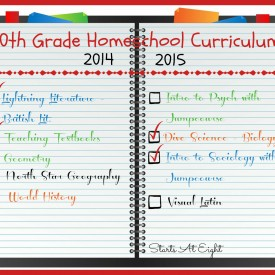 10th Grade Homeschool Curriculum for 2014-2015 from Starts At Eight