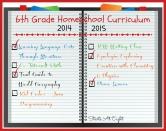 6th Grade Homeschool Curriculum ~ 2014-2015