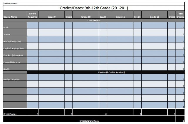4 Year High School Plan Free Spreadsheet Printable Startsateight