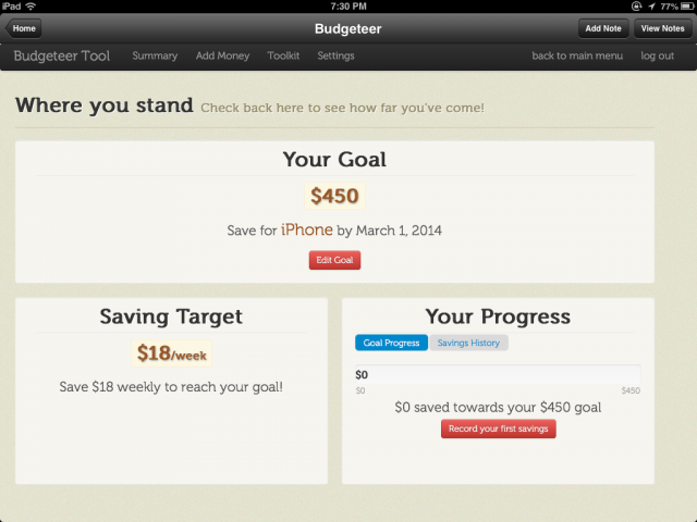 Savings Goal Screen Shot