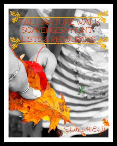 Fall Nature Walk ~ Scavenger Hunt Lists & Resources from Starts At Eight