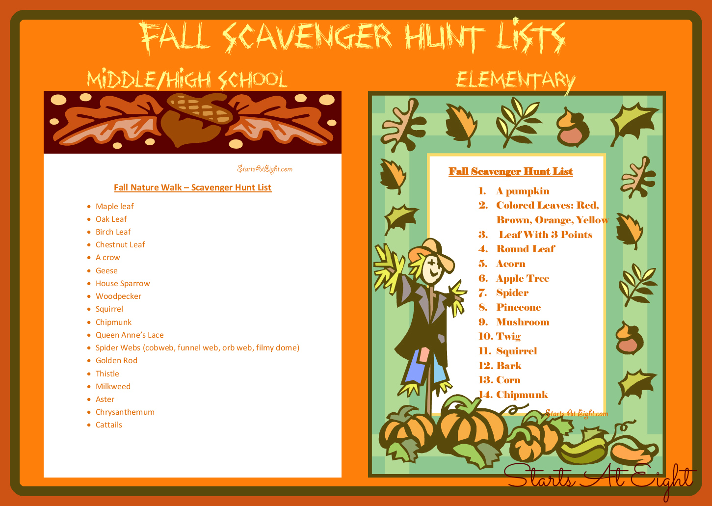 Fall Nature Walk Scavenger Hunt Lists Amp Resources