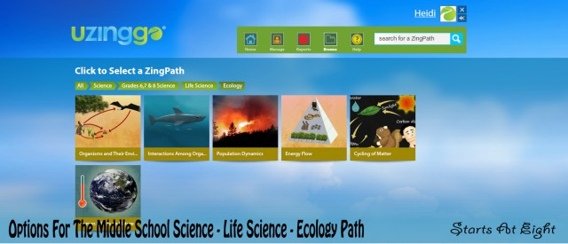 Options for the Middle School Life Science - Ecology Path