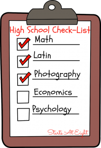 High School Check-List from Starts At Eight