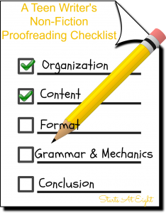 A Teen Writer's Non-Fiction Proofreading Checklist from Starts At Eight