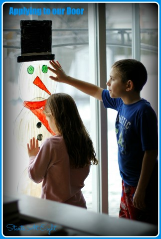 Snowman Window Cling on Door