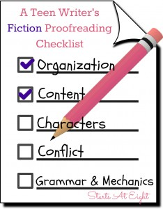 A Teen Writer's Fiction Proofreading Checklist from Starts At Eight