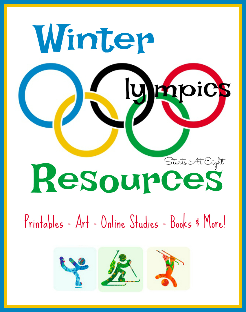 The Winter Olympics is a great opportunity to include various subjects together. Here are Winter Olympics art projects, unit studies, books, printables and other Winter Olympic resources from Starts At Eight.