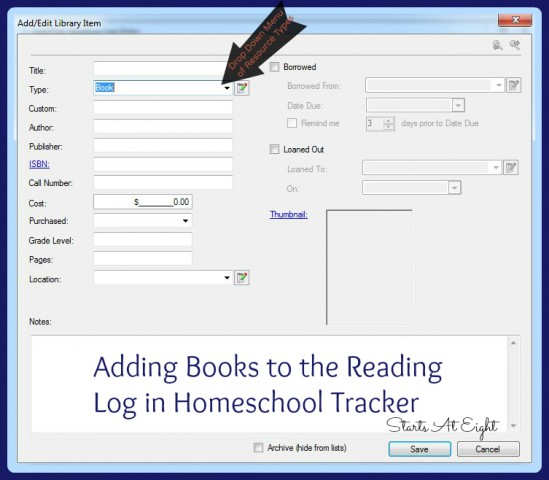 Adding Books to the Reading Log in Homeschool Tracker from Starts At Eight