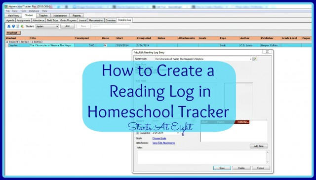 How to Create a Reading Log in Homeschool Tracker from Starts At Eight