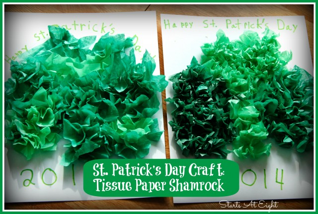 St. Patrick's Day Craft: Tissue Paper Shamrock from Starts At Eight