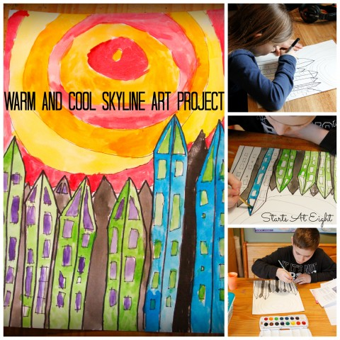 Warm and Cool Skyline Art Project
