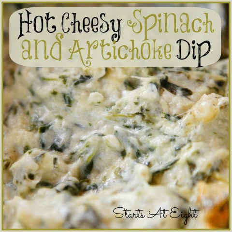 Hot Cheesy Spinach and Artichoke Dip from Starts At Eight