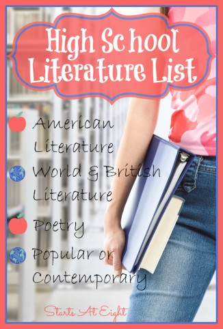 High School Literature List ~ American Literature from Starts At Eight