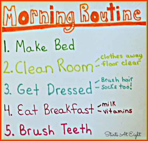 Morning Routine for Chore Chart from Starts At Eight