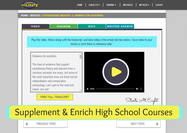 SDA Supplement and Enrich High School Courses