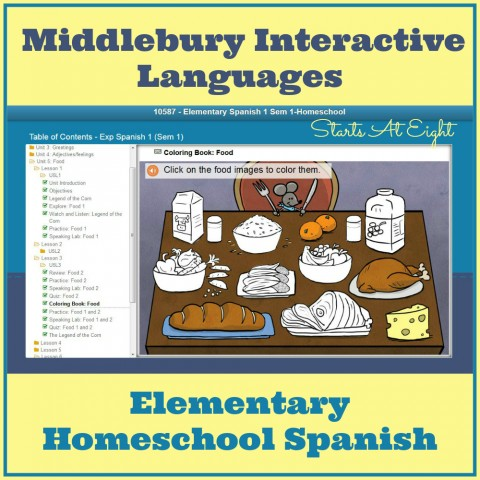 Elementary Homeschool Spanish with Middlebury Interactive from Starts At Eight
