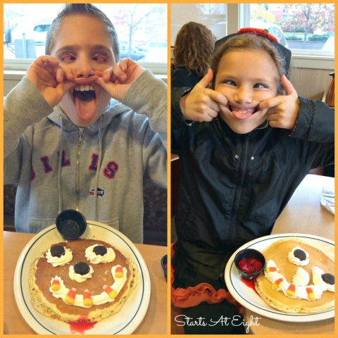 Scary Faced Pancakes from Starts At Eight