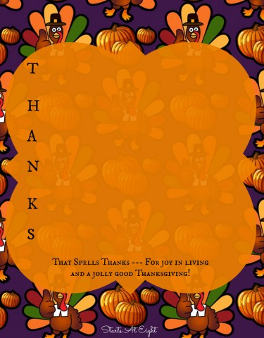 Thanksgiving Poetry - Create Your Own Template from Starts At Eight