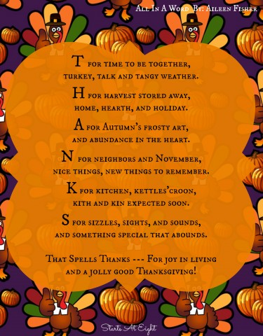 Thanksgiving Poetry Printable - All In A Word from Starts At Eight