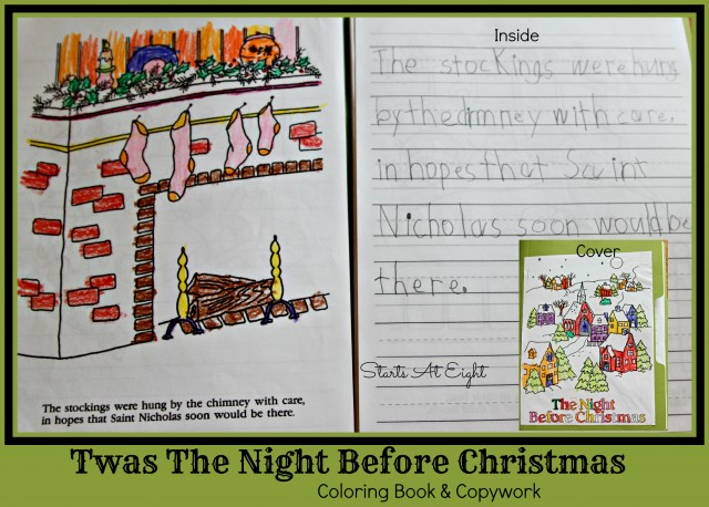 Twas The Night Before Christmas Coloring Book & Copywork from Starts At Eight