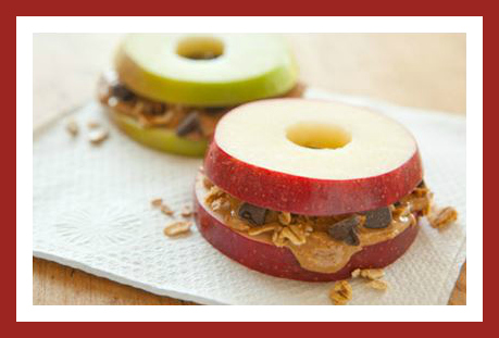 Healthy Homemade Snacks: Apple Sandwiches with Granola & Almond Butter from Starts At Eight