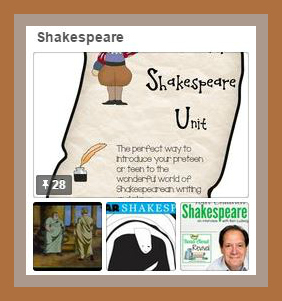 Shakespeare Pinterest Board from Starts At Eight