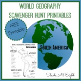 World Geography Scavenger Hunt: South America ~ FREE Printable