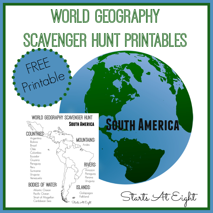 World Geography Scavenger Hunt South America Free Printable