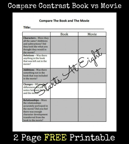 Compare Contrast Book vs Movie FREE Printable from Starts At Eight