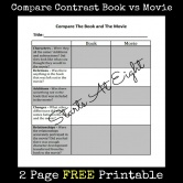 FREE Printable: Compare Contrast Book vs Movie