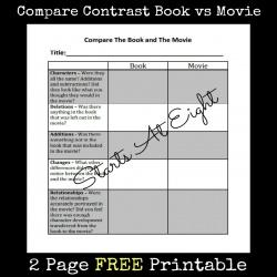 FREE Printable: Compare Contrast Book vs Movie