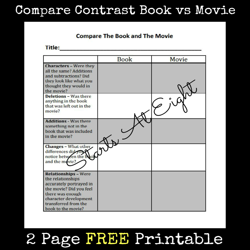 compare and contrast book vs movie essay