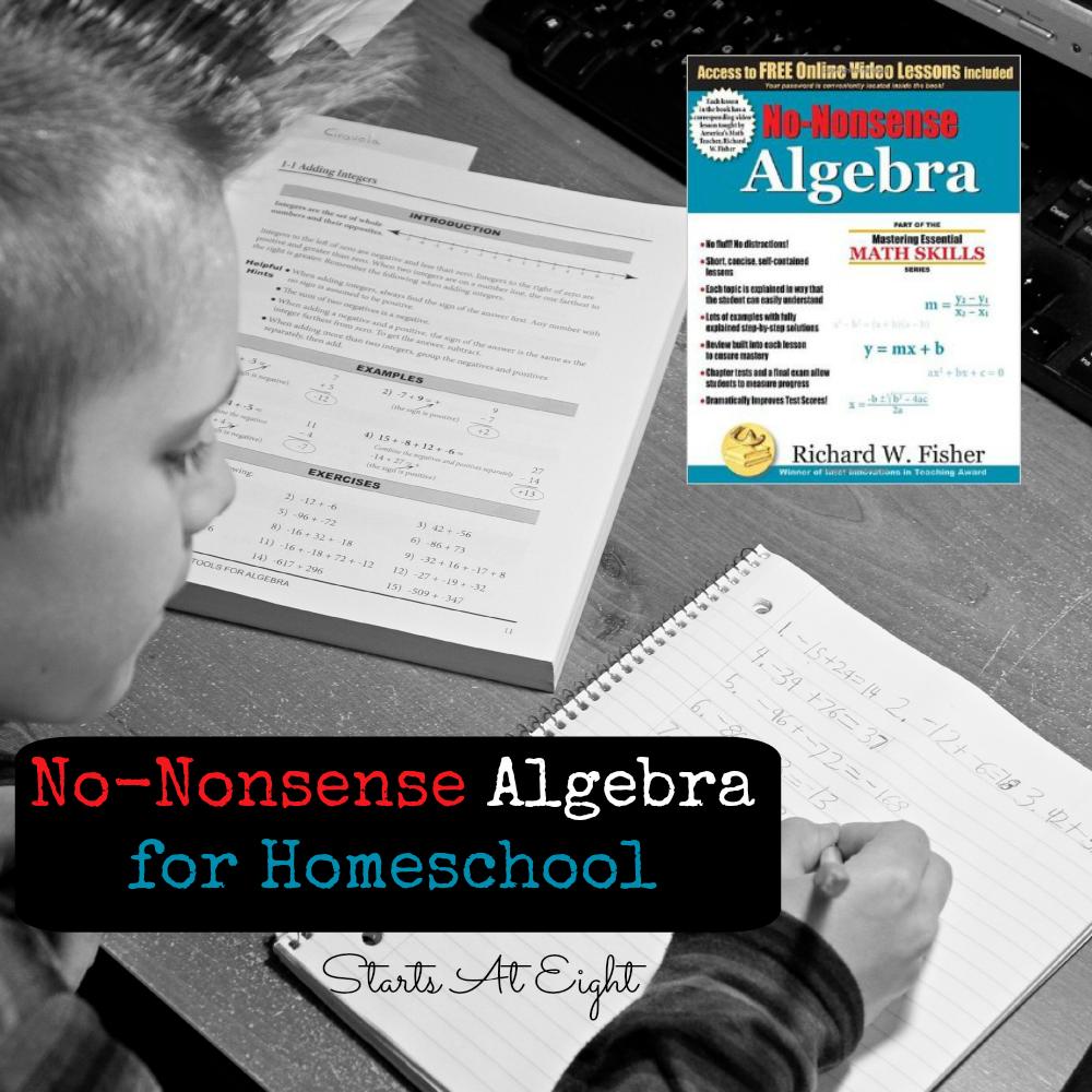 No-Nonsense Algebra for Homeschool