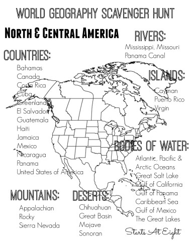 World Geography Scavenger Hunt Printable: North & Central America from Starts At Eight