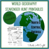 World Geography Scavenger Hunt: North & Central America~ FREE Printable
