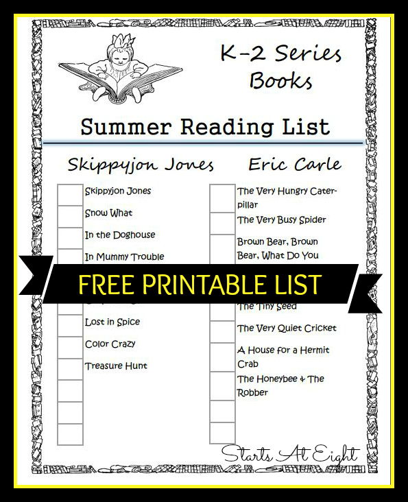 FREE Printable K-2 Book Series Summer Reading List from Starts At Eight