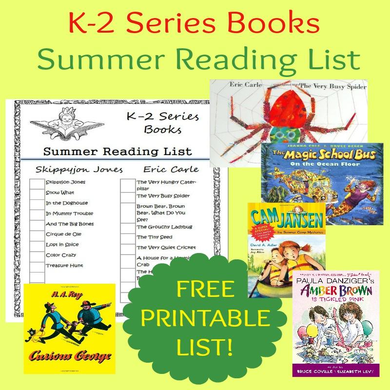 K-2 Series Books Summer Reading List ~ FREE PRINTABLE