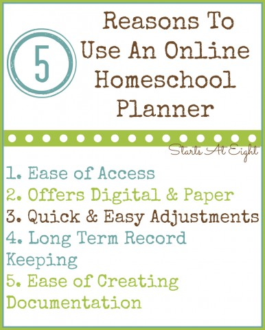5 Reasons To Use An Online Homeschool Planner from Starts At Eight
