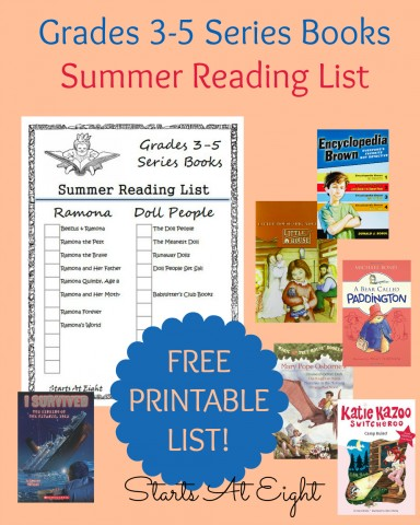 Grades 3-5 Series Books Summer Reading List FREE Printable from Starts At Eight