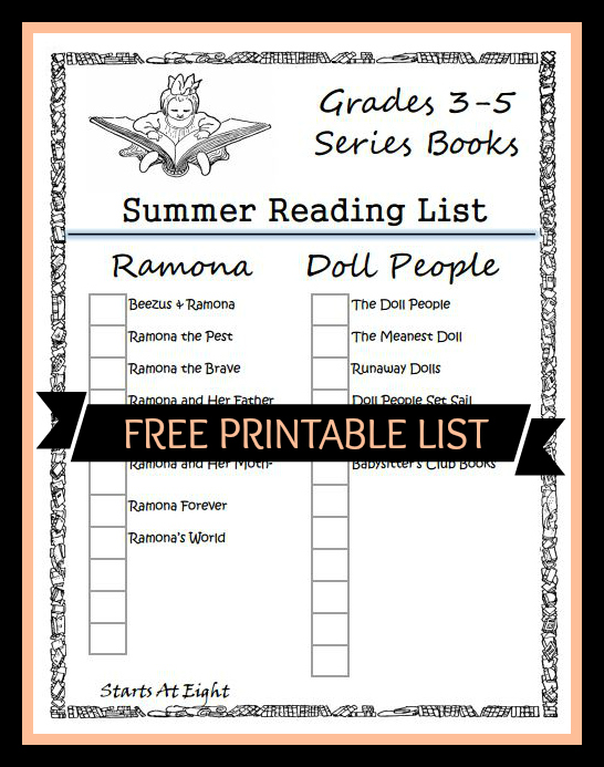 Grades 3-5 Summer Reading List Free Printable Cover from Starts At Eight